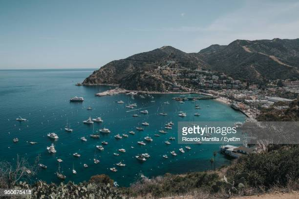 high angle view of bay against sky - catalina island stock photos and pictures
