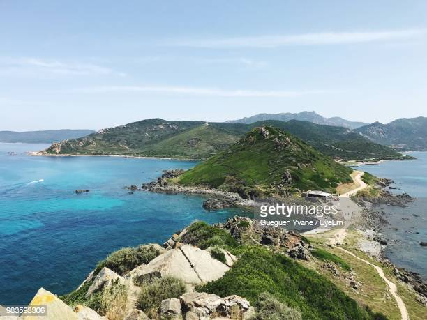 high angle view of bay against sky - ajaccio stock photos and pictures