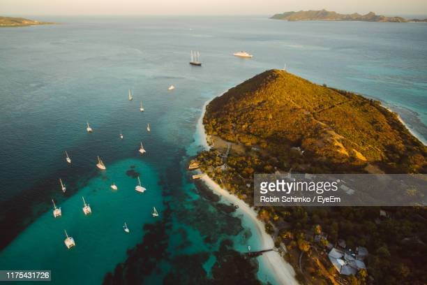 high angle view of bay and sea - west indies stock pictures, royalty-free photos & images