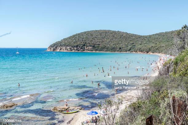 high angle view of beach against clear sky - pastore maremmano foto e immagini stock