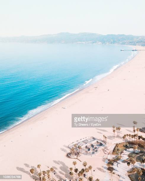 high angle view of beach against sky - venice beach stock pictures, royalty-free photos & images