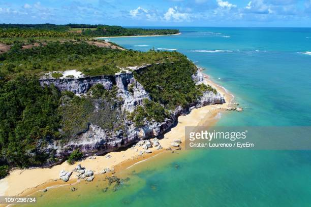 high angle view of beach against sky - bahia state stock pictures, royalty-free photos & images