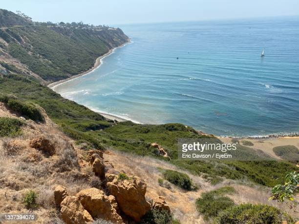 high angle view of beach against sky - rancho palos verdes stock pictures, royalty-free photos & images