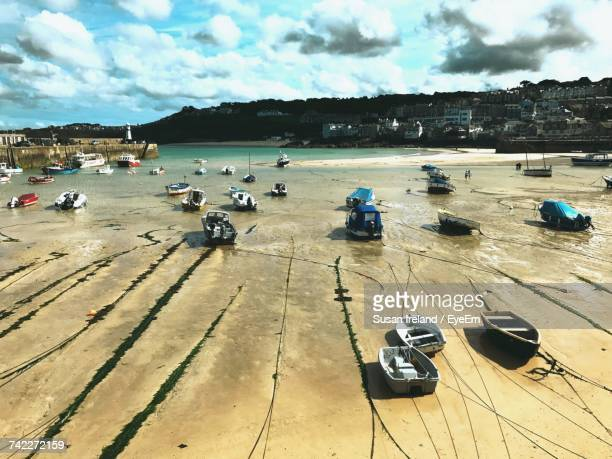 high angle view of beach against sky - st ives stock pictures, royalty-free photos & images