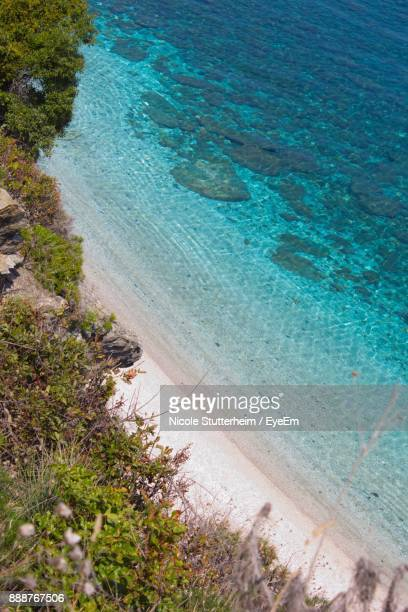 high angle view of beach against sky - stutterheim stock photos and pictures