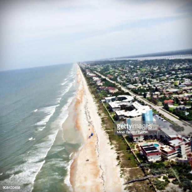 high angle view of beach against sky - baum stock pictures, royalty-free photos & images