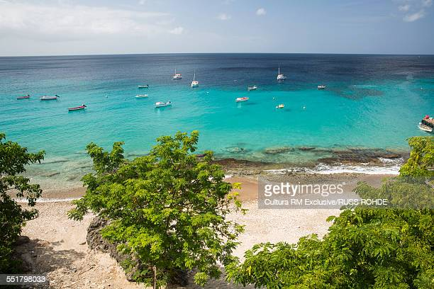 High angle view of beach and sea, Westpunt, Curacao, Caribbean