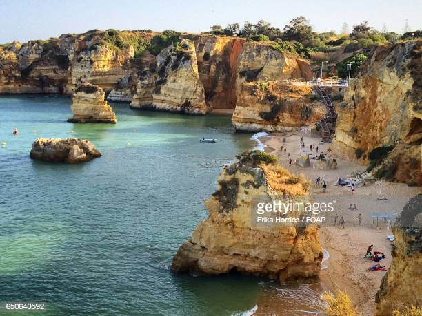 High angle view of beach at portugal