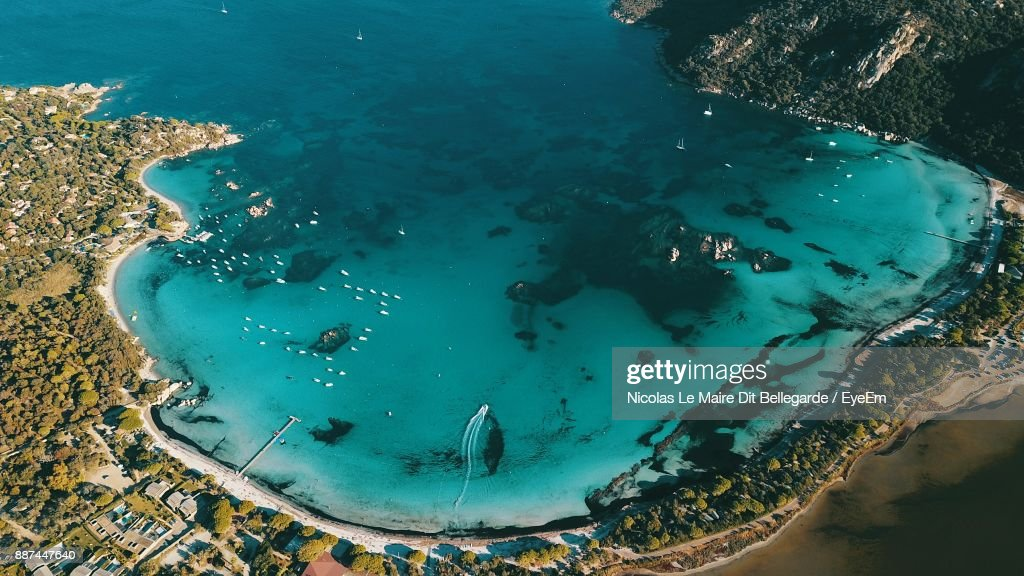 High Angle View Of Beach On Sunny Day : Stock Photo