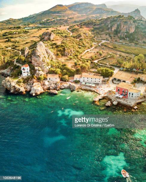 high angle view of beach - sicily stock pictures, royalty-free photos & images