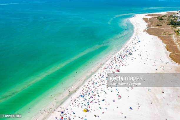 high angle view of beach - siesta key bildbanksfoton och bilder