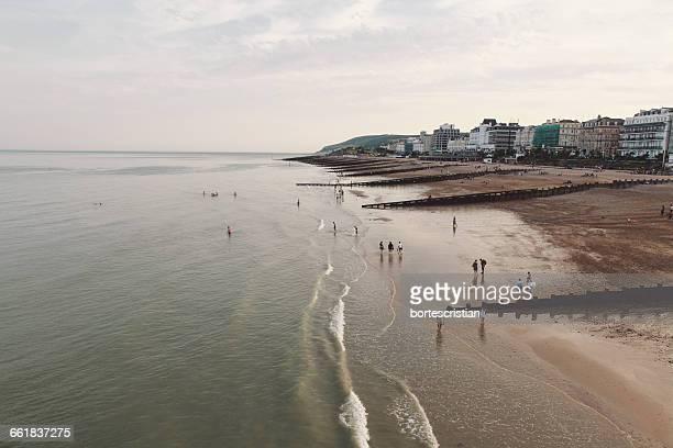 high angle view of beach - bortes cristian stock-fotos und bilder
