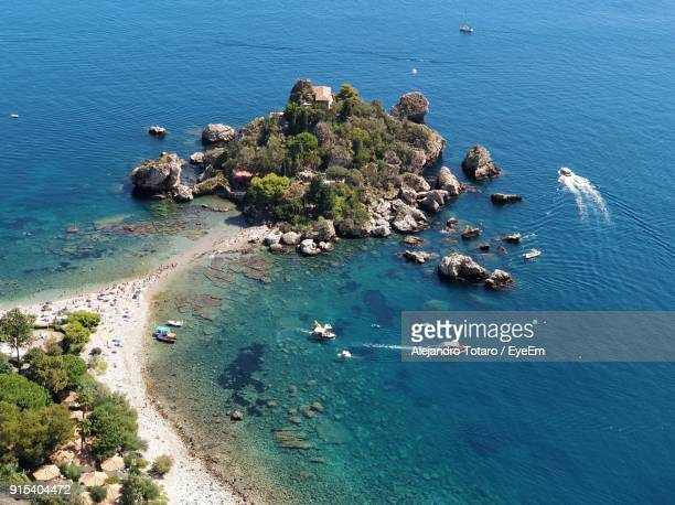 high angle view of beach - taormina stock pictures, royalty-free photos & images