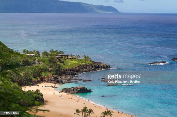 high angle view of beach - waimea bay hawaii stock photos and pictures