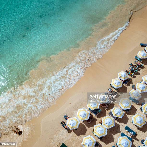 high angle view of beach - bridgetown barbados stock photos and pictures