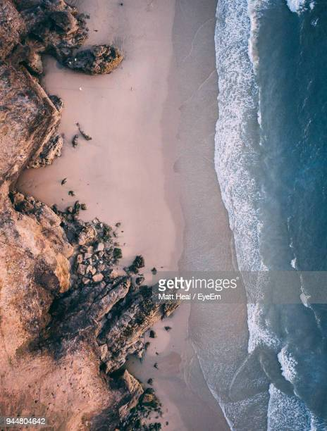 high angle view of beach - coastline stock photos and pictures