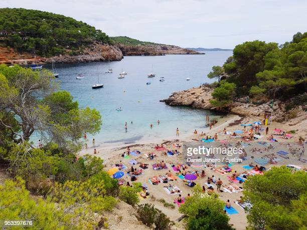 high angle view of beach - ibiza island stock pictures, royalty-free photos & images