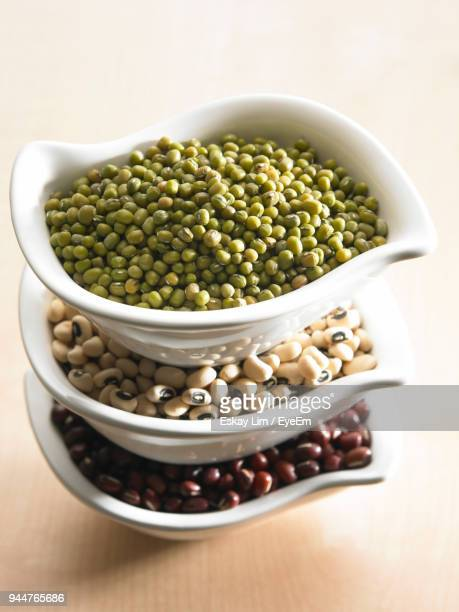 High Angle View Of Beans In Bowls On Table