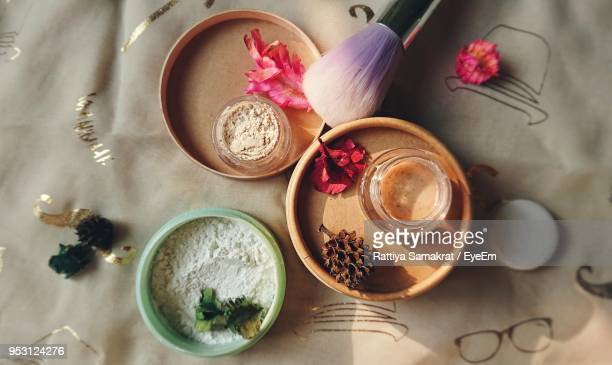 high angle view of beauty products on table - the natural world stock pictures, royalty-free photos & images