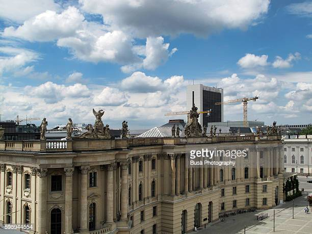 High angle view of Bebelplatz, in Berlin near Unter den Linden, with the building of the Humboldt University in the foreground