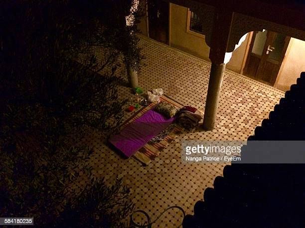 High Angle View Of Bedding At Courtyard During Night