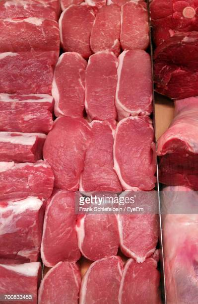High Angle View Of Beef For Sale In Shop