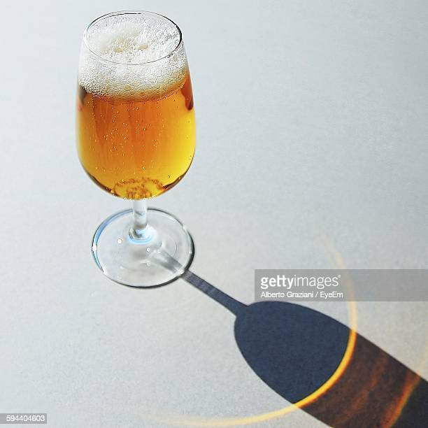 High Angle View Of Beer On Table