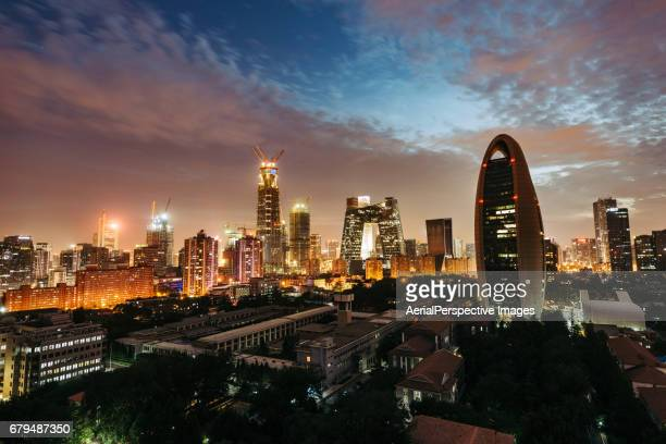 High angle view of Beijing Central Business District, Night