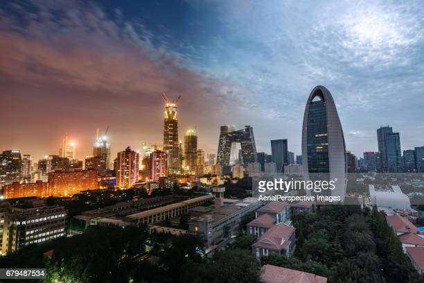 High angle view of Beijing Central Business District, Night to Day