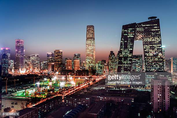 high angle view of beijing skyline at dusk - charlotte north carolina bildbanksfoton och bilder