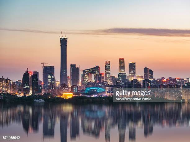 high angle view of beijing skyline at dusk - beijing province stock photos and pictures