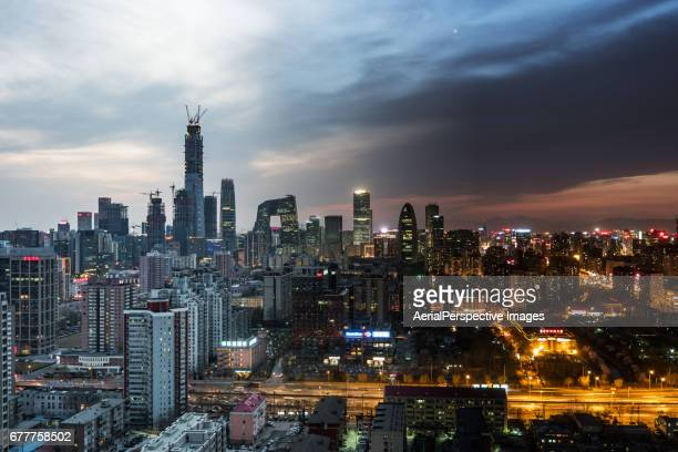 High angle view of Beijing Skyline, Day to Night