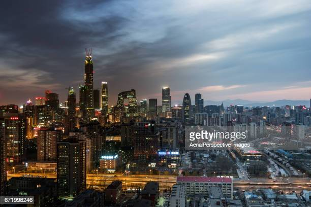 High angle view of Beijing Skyline, Night to Day