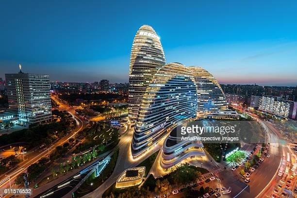 High angle view of Beijing Wangjing SOHO at Dusk