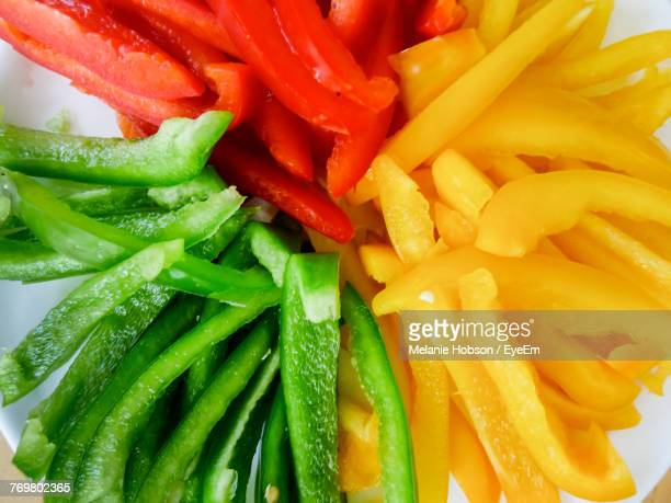 High Angle View Of Bell Pepper Slices In Bowl