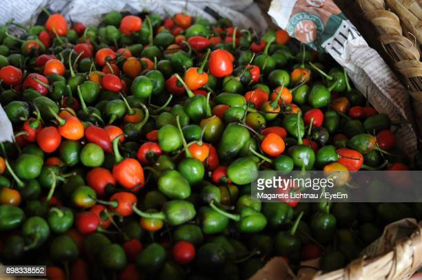 High Angle View Of Bell Peppers For Sale At Market