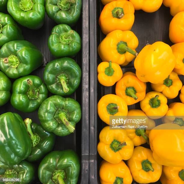 High Angle View Of Bell Peppers For Sale In Market