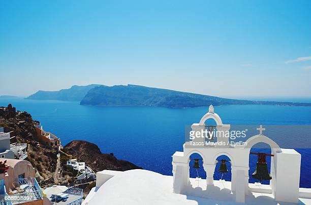 High Angle View Of Bells At Church By Sea In Santorini