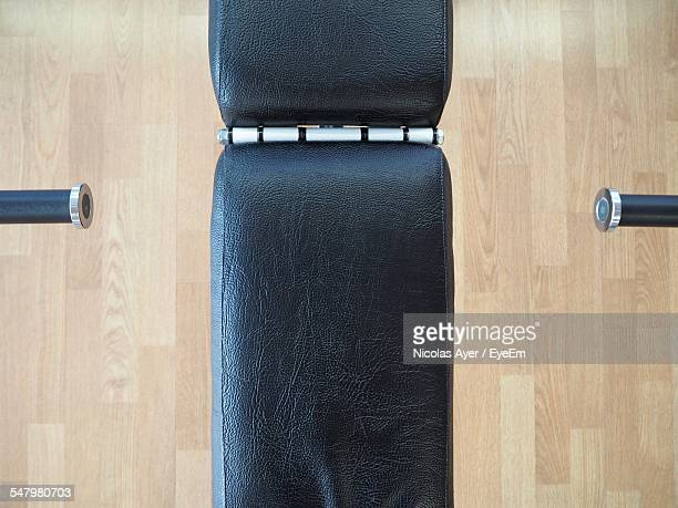 High Angle View Of Bench Press In Gym