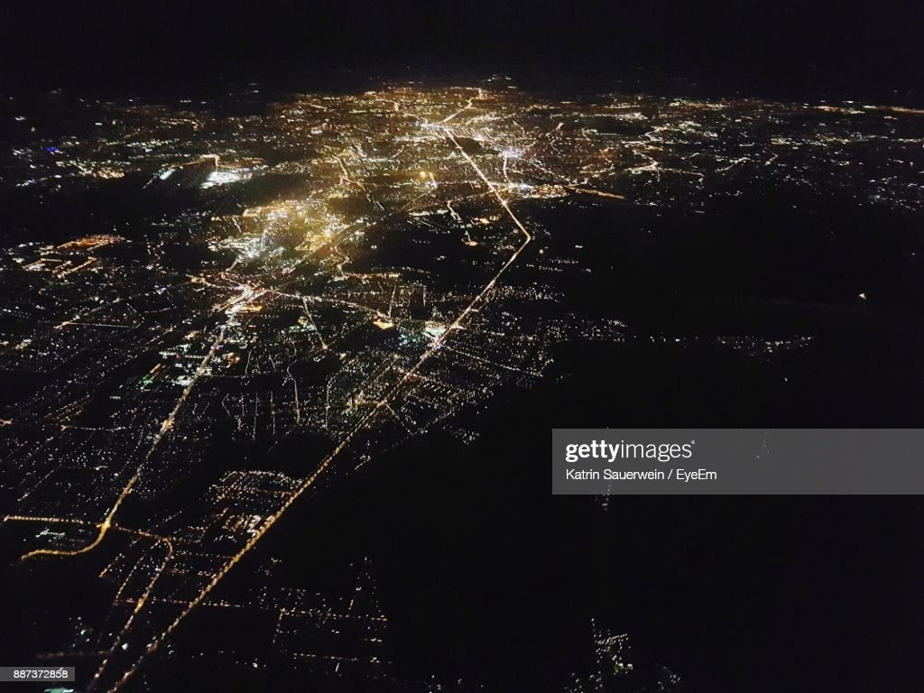 High Angle View Of Berlin At Night : Stock-Foto