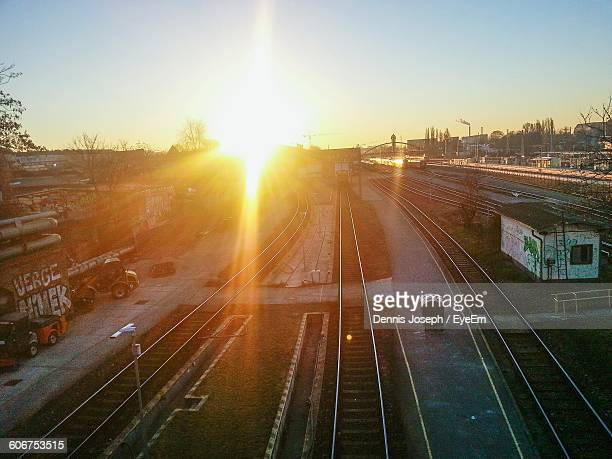 High Angle View Of Berlin Warschauer Strasse Station During Sunrise
