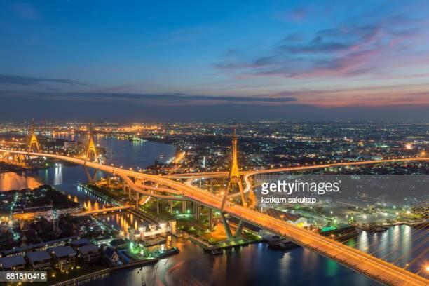 High angle view of Bhumibol bridge at dusk in Bangkok.