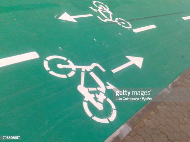 High Angle View Of Bicycle Lane Marking