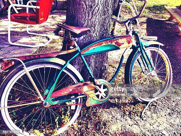 High Angle View Of Bicycle Leaning On Tree
