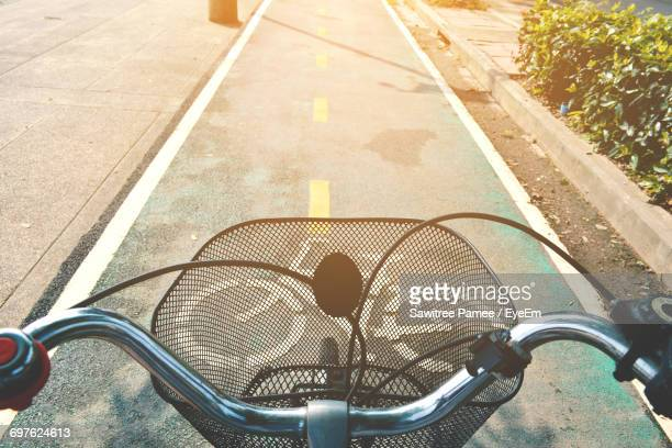 high angle view of bicycle wheel - handlebar stock photos and pictures