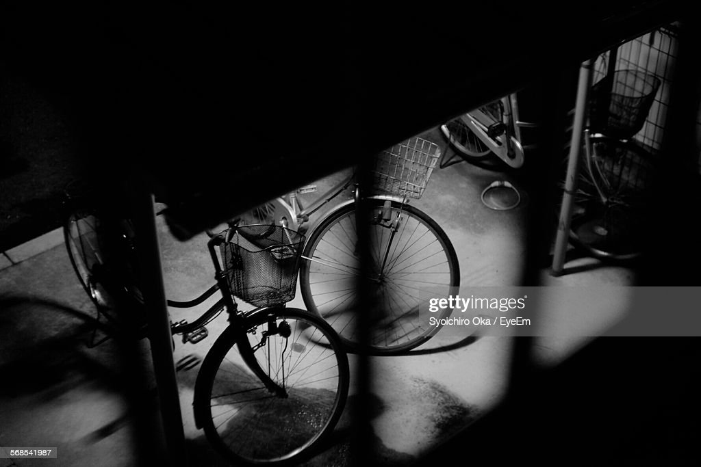 High Angle View Of Bicycles Parked At Parking Lot : Stock Photo