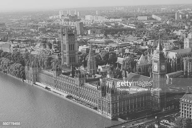 High Angle View Of Big Ben And Houses Of Parliament Seen From London Eye