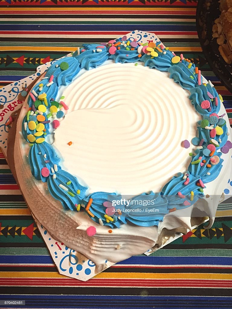 High Angle View Of Birthday Cake On Table Stock Photo Getty Images