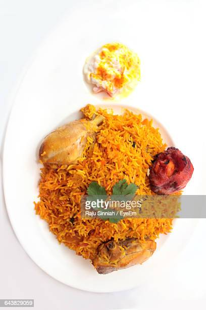 High Angle View Of Biryani In Plate On Table