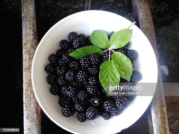 High Angle View Of Blackberries In Bowl